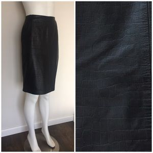 Vintage Soft Reptile Embossed Leather Pencil Skirt
